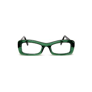 Armação para óculos de Grau Gustavo Eyewear G34 800. Cor: Verde translúcido. Haste preta.