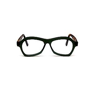 Armação para óculos de Grau Gustavo Eyewear G105 101. Cor: Verde. Haste animal print. Masculino