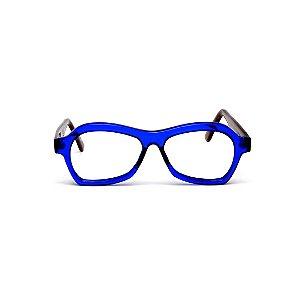 Armação para óculos de Grau Gustavo Eyewear G105 103. Cor: Azul translúcido. Haste animal print. Masculino
