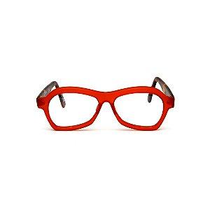 Armação para óculos de Grau Gustavo Eyewear G105 104. Cor: Vermelho translúcido. Haste animal print. Masculino.