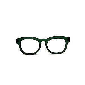 Armação para óculos de Grau Gustavo Eyewear G94 3. Cor: Verde fosco. Haste marrom.