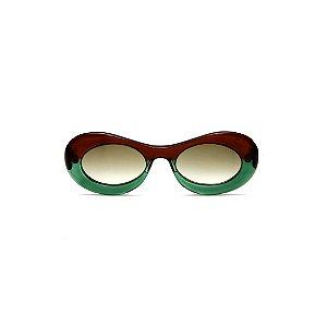 Óculos de Grau Gustavo Eyewear G89 15. Cor: Marrom e verde translúcidos. Haste marrom. Lentes marrom.