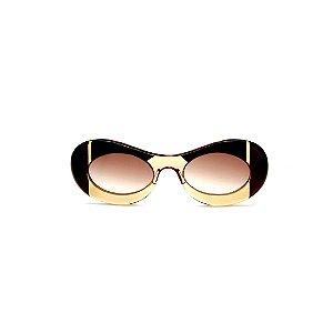 Óculos de sol Gustavo Eyewear G89 19. Cor: âmbar, preto e marrom. Haste marrom. Lentes marrom.