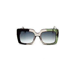 Óculos de sol Gustavo Eyewear G59 7. Cor: Preto, fumê e verde. Hastes preta e verde. Lentes cinza.