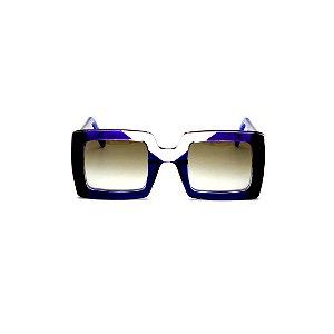 Armação para óculos de Grau Gustavo Eyewear G1 6 Cor: Azul, preto e crista. Haste azul. Lentes cinza.