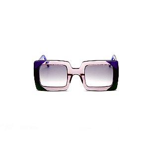 Óculos de sol Gustavo Eyewear G01 7. Cor: Fumê, preto e azul. Haste azul. Lentes cinza.