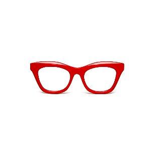 Armação para óculos de Grau Gustavo Eyewear G69 A. Cor: Vermelho opaco. Haste animal print.