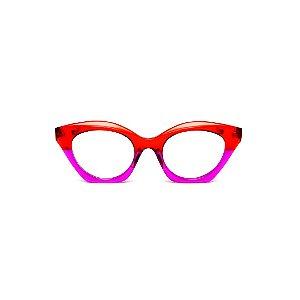 Armação para óculos de Grau Gustavo Eyewear G71 2. Cor: Vermelho e lilás translúcido. Haste vermelha.