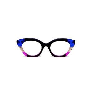 Armação para óculos de Grau Gustavo Eyewear G71 4. Cor: Preto, azul fumê e lilás translúcido. Haste azul.