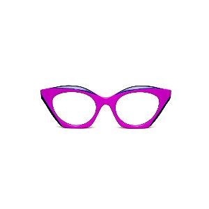 Armação para óculos de Grau Gustavo Eyewear G71 5. Cor: Lilás opaco com ponta azul. Haste preta.