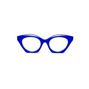 Armação para óculos de Grau Gustavo Eyewear G71 13. Cor: Azul opaco. Haste animal print.