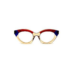 Armação para óculos de Grau Gustavo Eyewear G71 19. Cor: Âmbar, vermelho e azul translúcido. Haste azul.