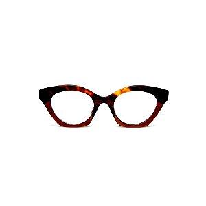 Armação para óculos de Grau Gustavo Eyewear G71 23. Cor: Animal print e marrom translúcido. Haste animal print.