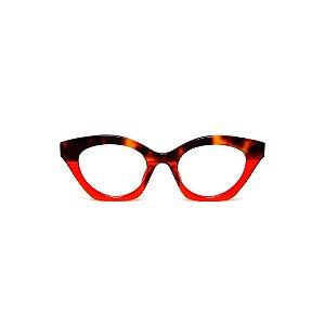 Armação para óculos de Grau Gustavo Eyewear G71 25. Cor: Animal print e vermelho translúcido. Haste animal print.