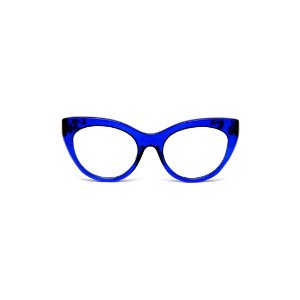 Armação para óculos de Grau Gustavo Eyewear G65 3. Cor: Azul translúcido. Haste preta.