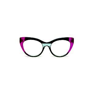 Armação para óculos de Grau Gustavo Eyewear G65 200. Cor: Violeta translúcido, preto e acqua. Haste violeta.