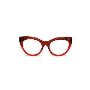 Armação para óculos de Grau Gustavo Eyewear G65 10. Cor: Marrom e vermelho translúcido. Haste animal print.