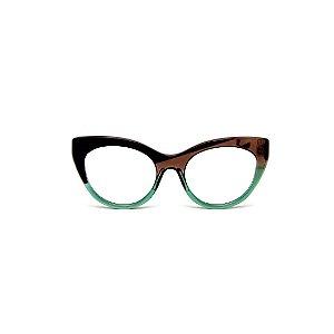 Armação para óculos de Grau Gustavo Eyewear G65 12. Cor: Acqua, preto e fumê. Hastes preta e marrom.