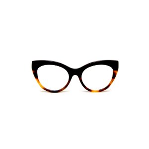 Armação para óculos de Grau Gustavo Eyewear G65 13. Cor: Preto com animal print. Haste preta.