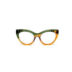 Armação para óculos de Grau Gustavo Eyewear G65 16. Cor: Verde e guaraná translúcido. Haste verde.