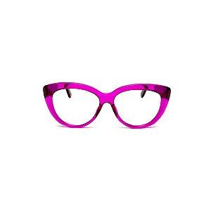 Armação para óculos de Grau Gustavo Eyewear G107 4. Cor: Violeta translúcido. Haste animal print.