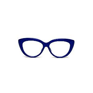 Armação para óculos de Grau Gustavo Eyewear G107 10. Cor: Azul opaco. Haste animal print.