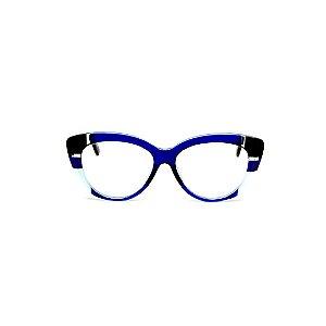 Armação para óculos de Grau Gustavo Eyewear G107 11. Cor: Azul, preto e acqua translúcido. Haste animal print.