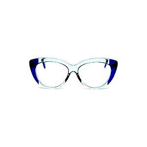 Armação para óculos de Grau Gustavo Eyewear G107 13. Cor: Acqua e azul translúcido. Haste azul.