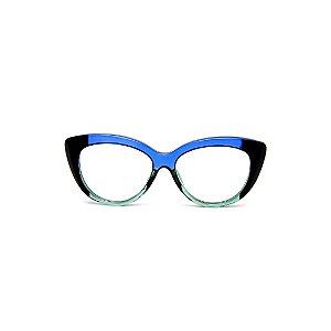 Armação para óculos de Grau Gustavo Eyewear G107 14. Cor: Azul translúcido, acqua e preto. Haste azul.
