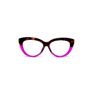 Armação para óculos de Grau Gustavo Eyewear G107 19. Cor: Animal print e violeta translúcido. Haste animal print.