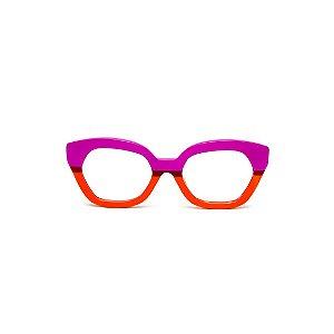 Armação para óculos de Grau Gustavo Eyewear G70 8. Cor: Violeta opaco e vermelho translúcido. Haste animal print.
