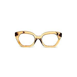 Armação para óculos de Grau Gustavo Eyewear G70 21. Cor: Âmbar. Haste animal print.