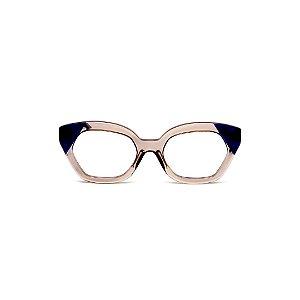 Armação para óculos de Grau Gustavo Eyewear G70 17. Cor: Fumê com azul translúcido. Haste azul.