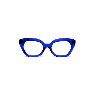 Armação para óculos de Grau Gustavo Eyewear G70 26. Cor: Azul translúcido. Haste preta.
