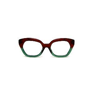 Armação para óculos de Grau Gustavo Eyewear G70 27. Cor: Marrom e verde translúcido. Haste marrom.