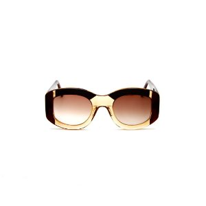 Óculos de sol Gustavo Eyewear G60 9. Cor: Âmbar, marrom translúcido e preto. Haste marrom. Lentes marrom.