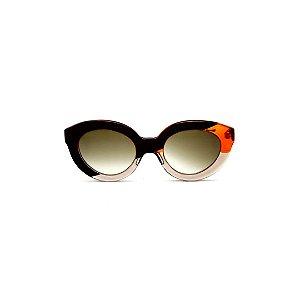 Óculos de sol Gustavo Eyewear G25 8. Cor: Preto, fumê e laranja translúcido. Haste preta. Lentes marrom.