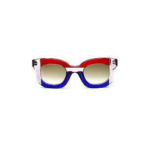 Óculos de Sol Gustavo Eyewear G31 13. Cor: Azul, crista e vermelho translúcido. Haste vermelha. Lentes cinza.