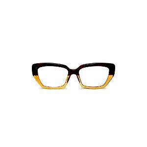 Armação para óculos de Grau Gustavo Eyewear G51 1. Cor: Marrom e âmbar. Haste animal print.