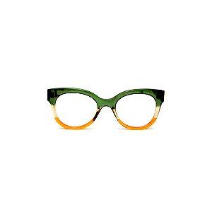 Armação para óculos de Grau Gustavo Eyewear G56 2. Cor: Verde, âmbar e laranja translúcido. Haste verde.