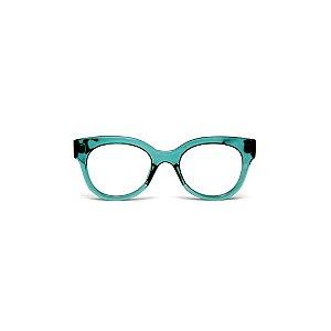 Armação para óculos de Grau Gustavo Eyewear G56 3. Cor: Acqua. Haste animal print.