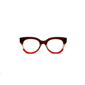 Armação para óculos de Grau Gustavo Eyewear G56 8. Cor: Marrom, fumê e vermelho translúcido. Haste marrom.