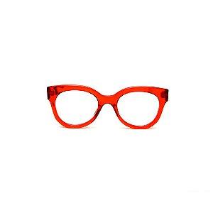 Armação para óculos de Grau Gustavo Eyewear G56 9. Cor: Vermelho translúcido. Haste animal print.