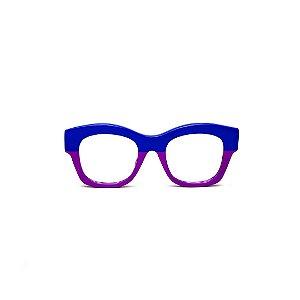 Armação para óculos de Grau Gustavo Eyewear G58 7. Cor: Azul e violeta opaco. Haste preta.