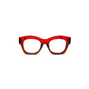Armação para óculos de Grau Gustavo Eyewear G58 14. Cor: Vermelho e marrom translúcido. Haste marrom.