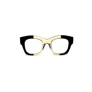Armação para óculos de Grau Gustavo Eyewear G58 16. Cor: Preto e âmbar. Haste preta.
