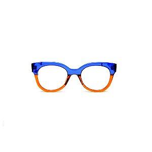Armação para óculos de Grau Gustavo Eyewear G56 12. Cor: Azul e laranja translúcido. Haste azul.