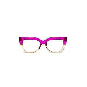 Armação para óculos de Grau Gustavo Eyewear G49 9. Cor: Violeta e âmbar translúcido. Haste violeta.