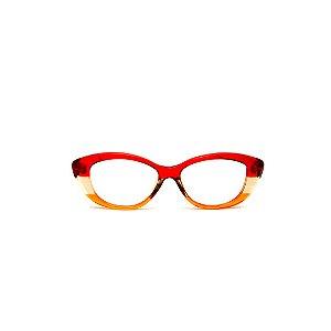 Armação para óculos de Grau Gustavo Eyewear G50 9. Cor: Vermelho, âmbar e laranja translúcido. Haste vermelha.