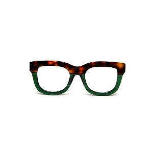 Armação para óculos de Grau Gustavo Eyewear G57 14. Cor: Animal print e verde translúcido. Haste animal print.
